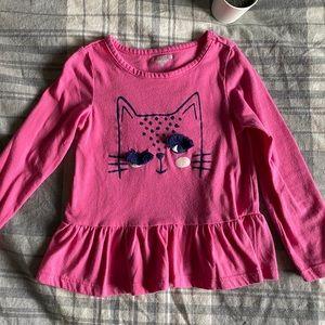 Toughskins Girls Cat Wink Pink Long Sleeve Shirt